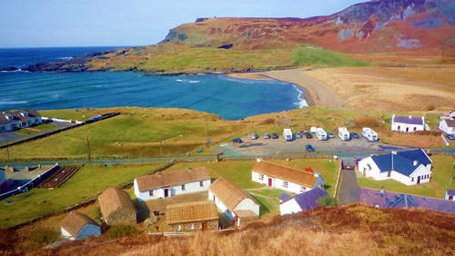 Folk Village with view of Glen Head, Glencolmcille, County Donegal, Ireland